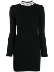 Ck Calvin Klein Logo Collar Dress Black