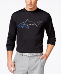 Greg Norman For Tasso Elba Big Shark Long Sleeve T Shirt Only At Macy's Deep Black