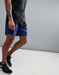 New Look Sport Shorts With Colour Blocking In Black And Navy Navy