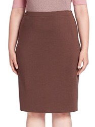 Stizzoli Plus Size Woolen Pull On Skirt Brown