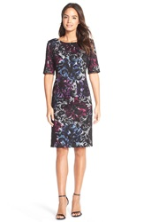 Donna Ricco Donna Rico Print Scuba And Lace Sheath Dress Black