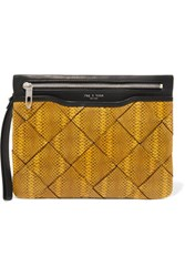 Rag And Bone Smooth Woven Snake Effect Leather Clutch Yellow