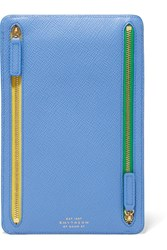 Smythson Panama Textured Leather Wallet Blue