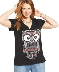 Rebellious One Plus Size Owl Print Graphic Tee