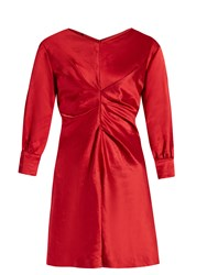 Isabel Marant Rad V Neck Satin Dress Red