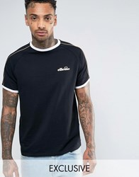 Ellesse T Shirt With Gold Piping Black