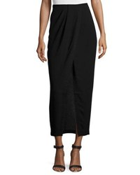 Halston Faux Wrap Maxi Skirt Black