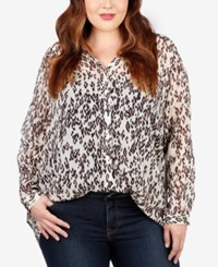Lucky Brand Trendy Plus Size Animal Print Shirt White