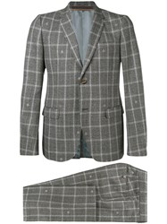 Gucci Two Piece Check Suit Grey