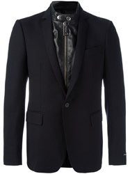 Les Hommes Layered Biker Effect Blazer Black