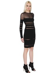 Alexandre Vauthier Transparent Stripes Stretch Jersey Dress