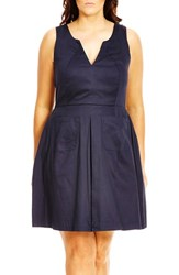 City Chic Plus Size Women's 'Mod Madness' Notch Neck Fit And Flare Dress Navy