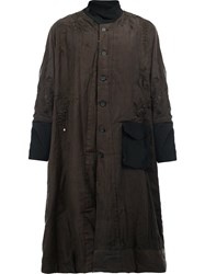 By Walid Floral Embroidery High Neck Coat Brown
