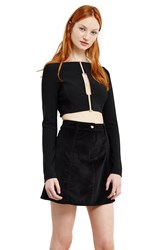 Thierry Mugler Pierced Long Sleeve Crop Top Black