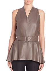 The Row Floma Leather Peplum Top Stony Brown