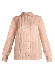 Valentino Semi Sheer Pintuck Pleated Blouse Pink