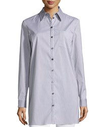 Michael Kors Button Front Skinny Stripe Long Shirt Chocolate