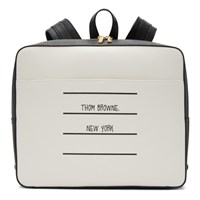 Thom Browne Black And White Paper Label Zip Top Book Backpack