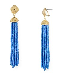 Aqua Leslie Tassel Drop Earrings Light Blue