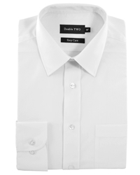 Double Two King Size Classic Plain Long Sleeve Shirt White