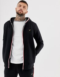 Voi Jeans Tracksuit Zip Through Hoodie With Contrast Piping Black