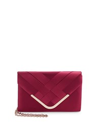 La Regale Satin Envelope Clutch Burgundy