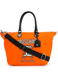 Moschino Interlocking C Clamp Tote Yellow And Orange
