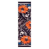Bianca Elgar Orange Flowers Oblong Scarf Black White Blue