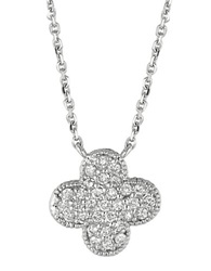 Lord And Taylor Diamond Clover Pendant In 14 Kt. White Gold