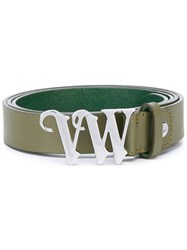 Vivienne Westwood Red Label Logo Buckle Belt Women Calf Leather One Size Green