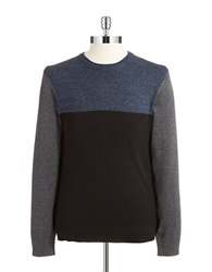 Dkny Color Block Marled Sweater Blue