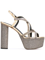Jean Michel Cazabat Metallic Grey Platform Sandals Women Leather 37