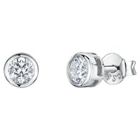 Jools By Jenny Brown Round Cubic Zirconia Stud Earrings Silver