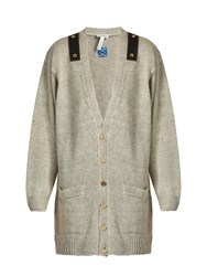 Loewe Leather Trimmed Linen Oversized Cardigan Light Grey