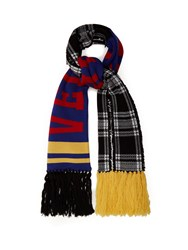 Versace Checked Logo Intarsia Wool Scarf Multi