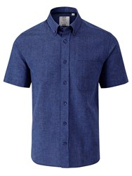 Skopes Classic Fit Short Sleeve Button Down Shirt Navy