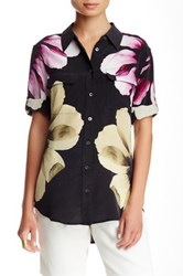 Equipment Short Sleeve Slim Signature Silk Blouse Black