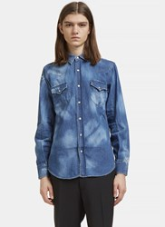 Saint Laurent Repaired Western Bleached Denim Shirt Blue