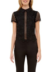 Ted Baker Beaux Mixed Lace Collared Crop Top Black