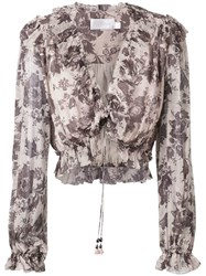 Zimmermann Juno Tie Blouse Grey