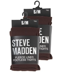 Steve Madden 2 Pack Fleece Lined Footless Tight Chocolate Hose Brown