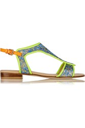 Markus Lupfer Neon Leather And Brocade Sandals Blue