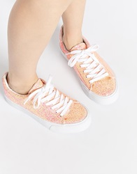 Asos Dallington Lace Up Trainers Apricotglitter