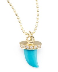 Sydney Evan Small Diamond And Turquoise Horn Necklace Yellow Gold
