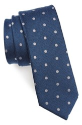 The Tie Bar Men's Dotted Hitch Silk And Wool Skinny Classic Blue