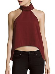 Finders Keepers Pink Skies Halter Top Oxblood