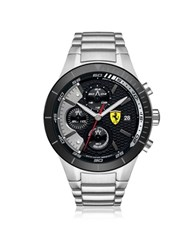 Ferrari Red Rev Evo Silver Tone Stainless Steel Men's Chrono Watch