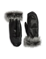 Ugg Faux Fur Lined Shearling Cuff Mittens Black