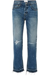 Current Elliott The Throwback Original Distressed High Rise Straight Leg Jeans Mid Denim