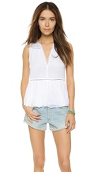 Alice Olivia Kailyn Sleeveless Boho Blouse White